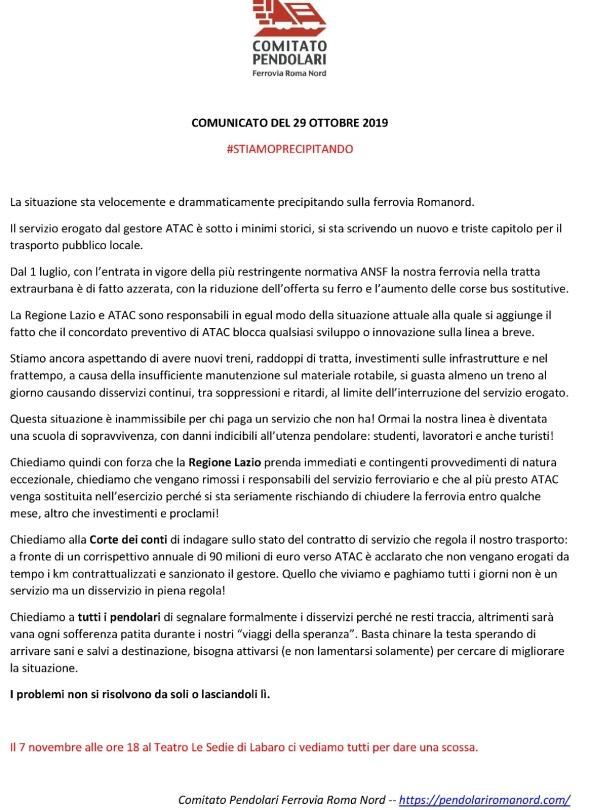COMUNICATO COMITATO 29 OTTOBRE 2019