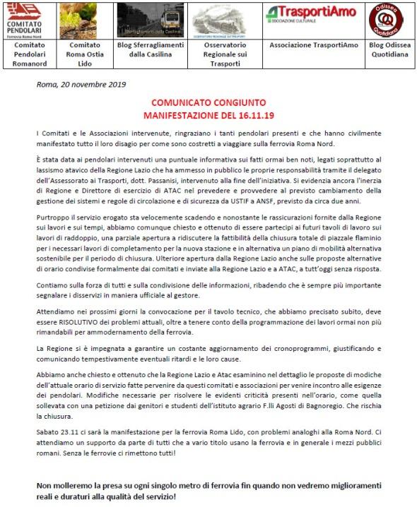 Comunicato congiunto manifestazione piazza del popolo 16.11.19 FINALE