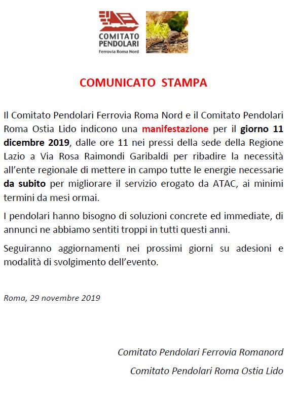 Comunicato stampa romanord e romalido per manifestazione 11.12.2019 regione lazio