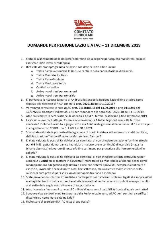 Domande per la Regione Lazio v1